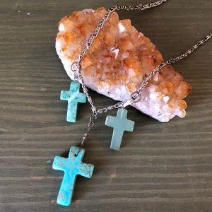 Three Cross Stone Pendant Necklace